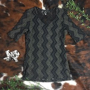 BKE • Black and Tan Lace All Over Blouse